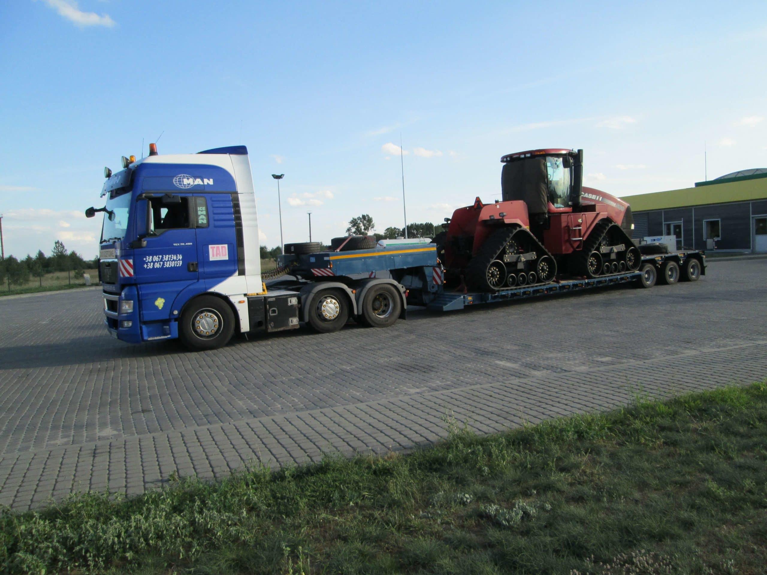 Перевозка трактора CASE на гусеницах