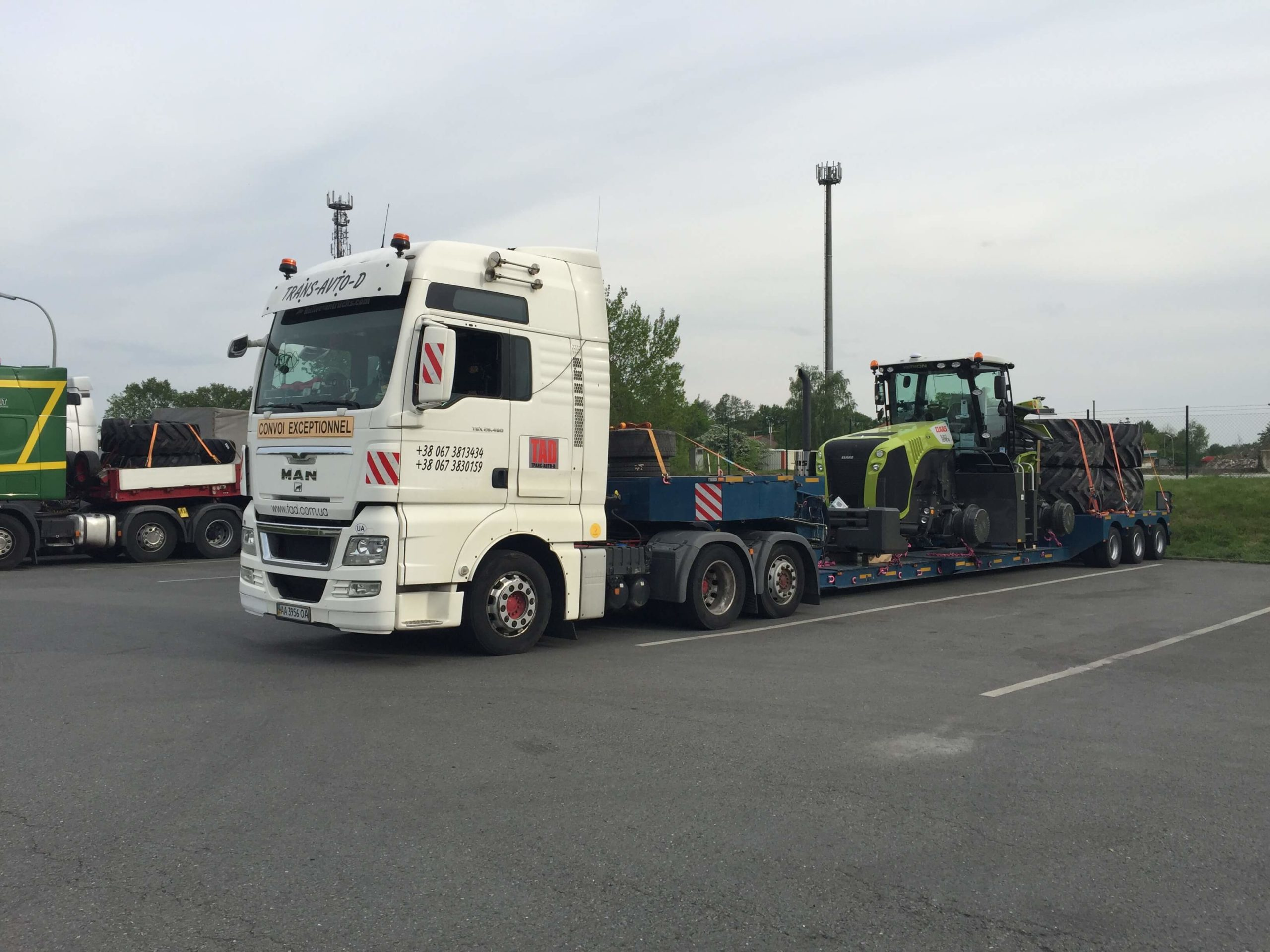 Claas tractor transportation from Germany