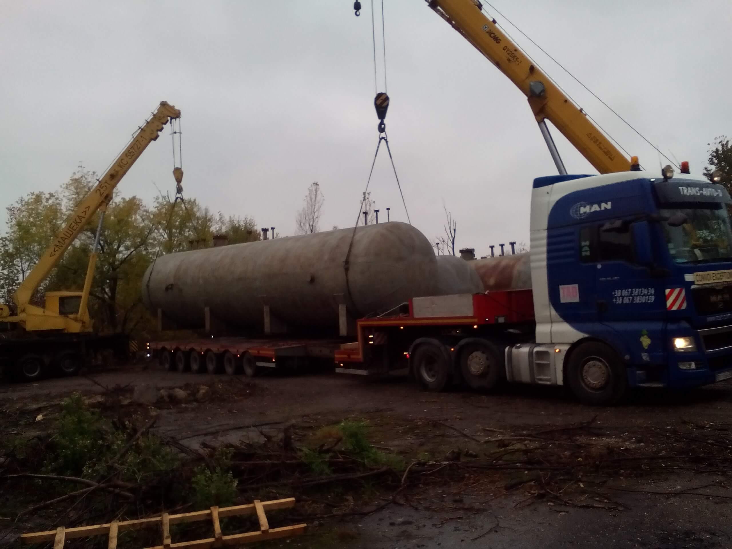 Перевозка емкостей для хранения газа по Западе Украины