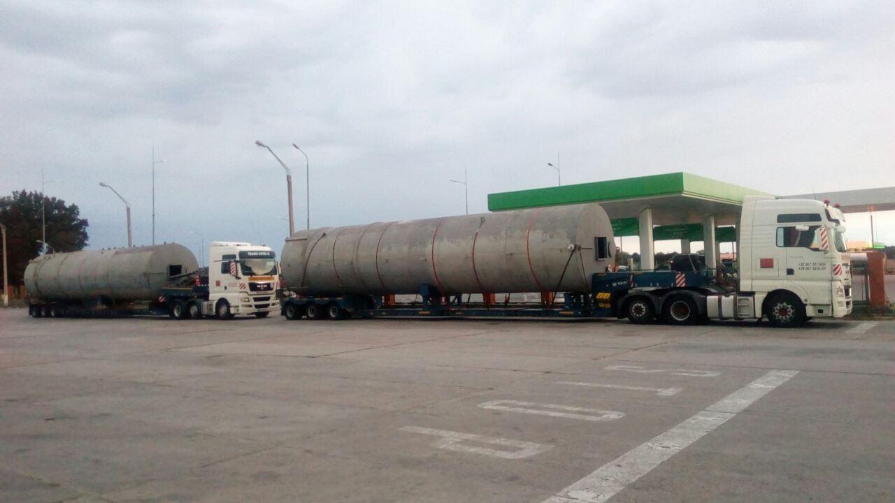 Перевозка силосов для хранения цемента, габаритные размеры 18.5х3.6х3.40, вес 9 тонн