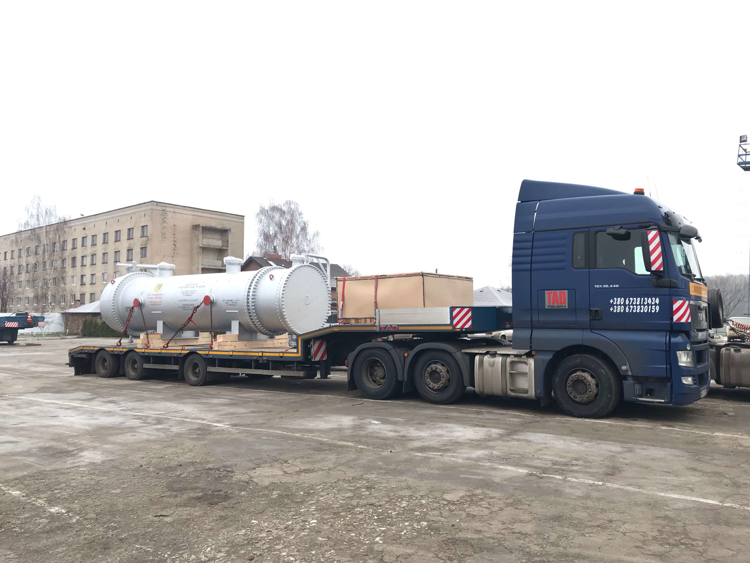 Transportation of industrial barrels manufactured by Motor Sich