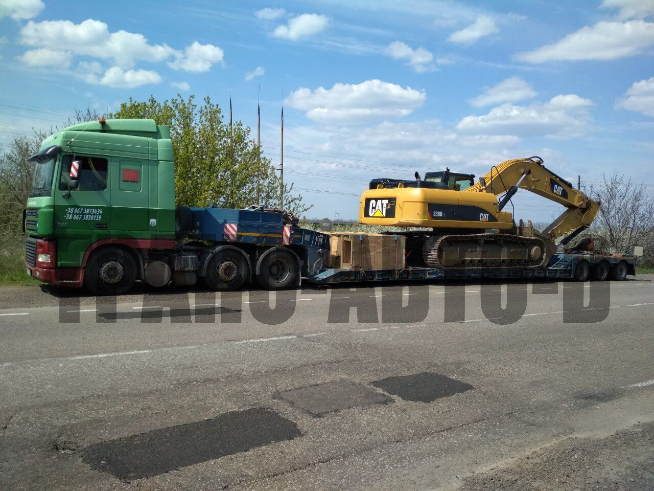 Large transportation of CAT excavators in Ukraine