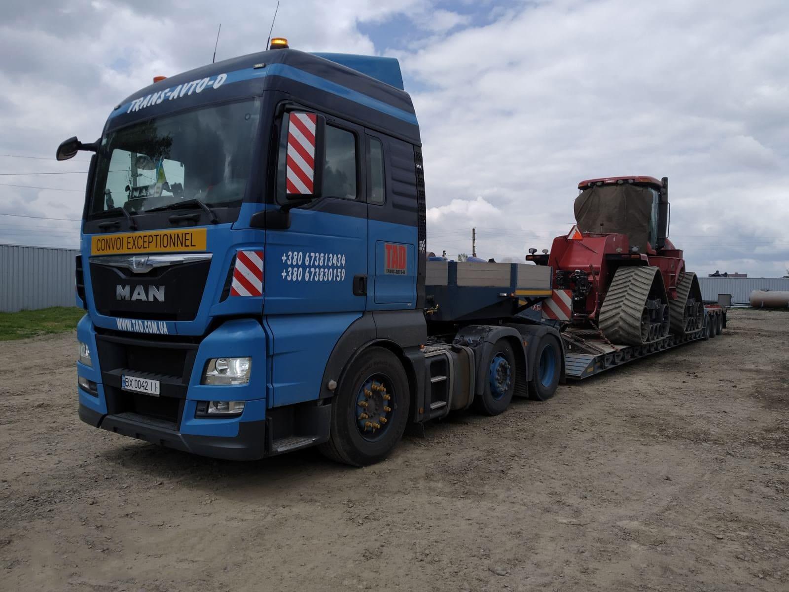 Перевезення гусеневого трактора тралом
