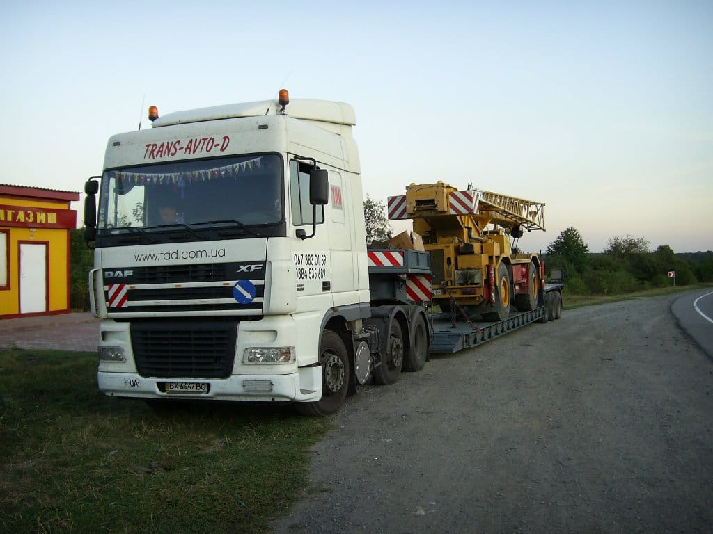 Transportation of an industrial tower for construction