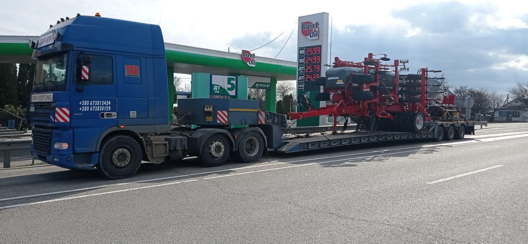 Перевезення навісного сільгосп обладнання