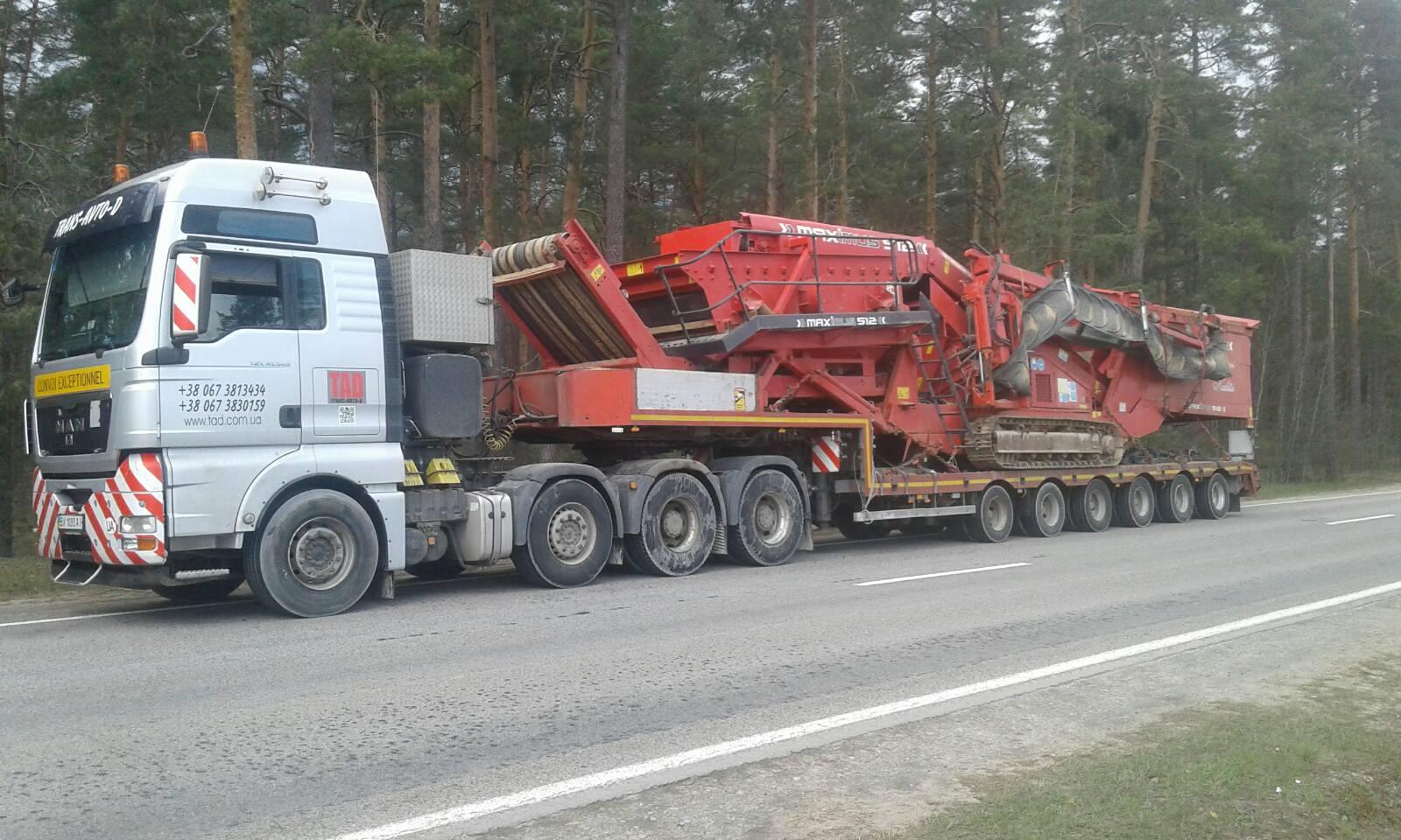 Transportation of road special equipment
