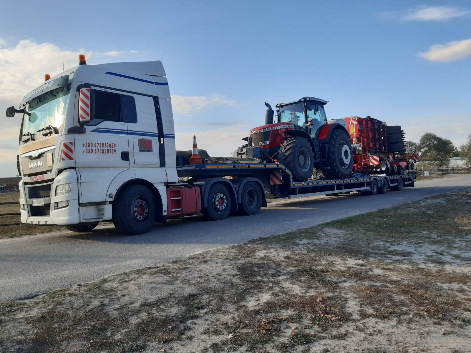 Перевозка трактора Massey Ferguson 8737 и сеялки Pottinger Terrasem C6